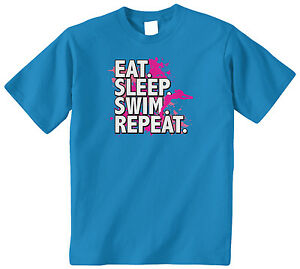 Threadrock Girls Eat Sleep Swim Repeat Fitted T-shirt Swimming Sports Slogan