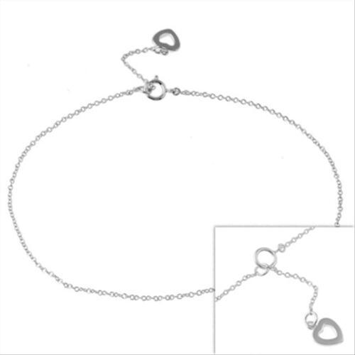 925 Sterling Silver Open Heart Anklet Bracelet