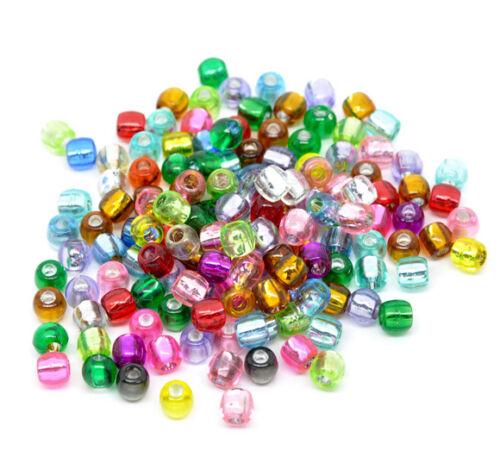 100 Foil Pony Acrylic Beads 7mm Mixed Colours 3.2mm Hole J10573U