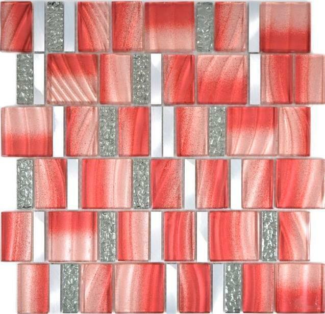 Aluminium Mosaik Glasmosaik rot silber Wand Küche Bad Sauna 88-0009  10Matten