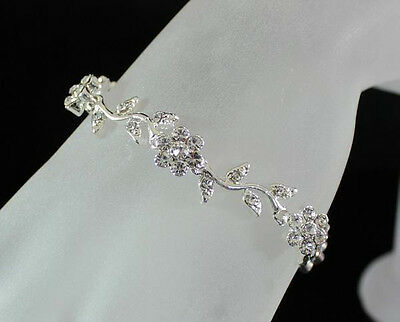DAISIES CLEAR AUSTRIAN RHINESTONE CRYSTAL BRACELET BANGLE BRIDAL PARTY N1509BRCE