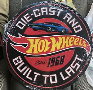 Hot Wheels Die Cast Built To Last Embossed Metal Sign 12 in. Round Since 1968