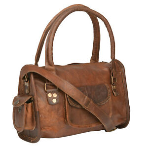 """13""""Genuine Leather Small Vintage Women's Duffel Travel Gym Weekend Overnight Bag"""