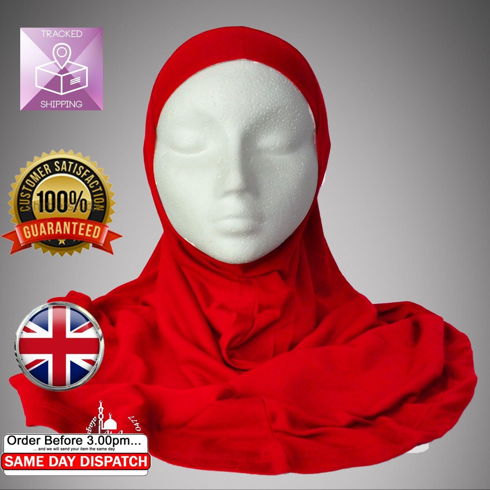 New Brigh red hijab, One peice hijab, Islamic mosque scarf, girls hijab