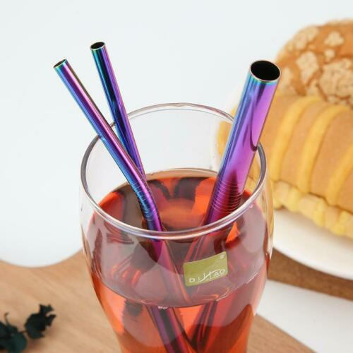 Straight Bent Extra Wide /& Brush Pouch 4pc Stainless Steel Drinking Straw Kit