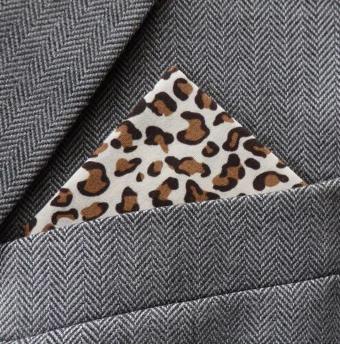 SUPERNOVA Leopard Brown /& Tan Pocket Square Handkerchief Scooter Mod Indie 60s
