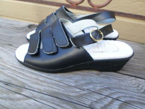 Echt Worishofer Fubbett Black Leather Sandals Wome