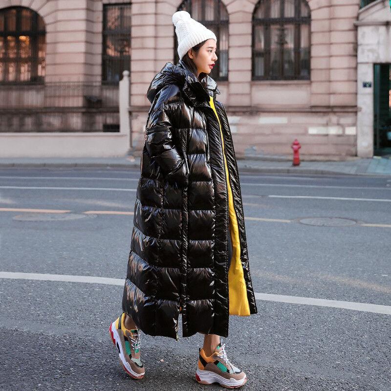 Damen Shiny Winter warm Steppmantel Verdicken Kapuzemantel Lang Jacke Parkas Neu