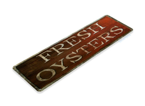 TIN SIGN B349 Fresh Oysters Seafood Crab Shack Kitchen Rustic Decor