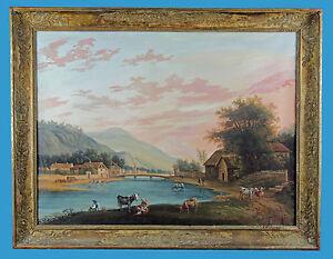 Gouache-Frankreich-o-Westschweiz-um-1820-Flusslandschaft-m-figuerlicher-Staffage