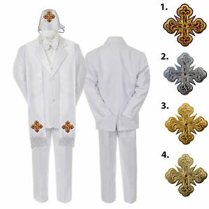 5 6 7pc White Baby Kid Boy Christening Formal Satin Suits Cross Hat Stole S-7yr