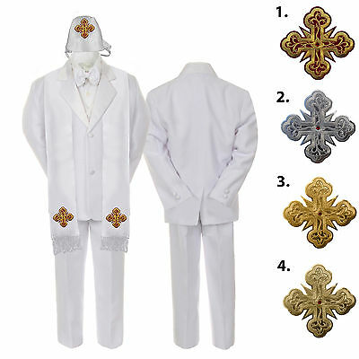 Bright 5 6 7pc White Baby Kid Boy Christening Formal Satin Suits Cross Hat Stole S-7yr Dependable Performance