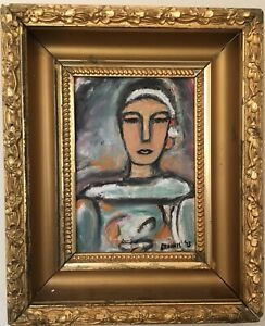 Vintage-Mid-Century-Abstract-Portrait-Oil-Painting