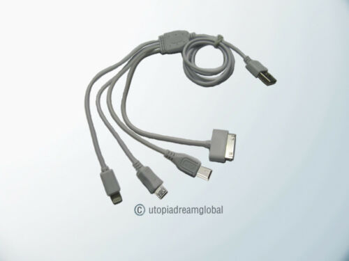 USB 4 In1 Charging Cable Cord 8-Pin//30Pin//Micro//Mini For iPhone 5//4//4S i Pad HTC