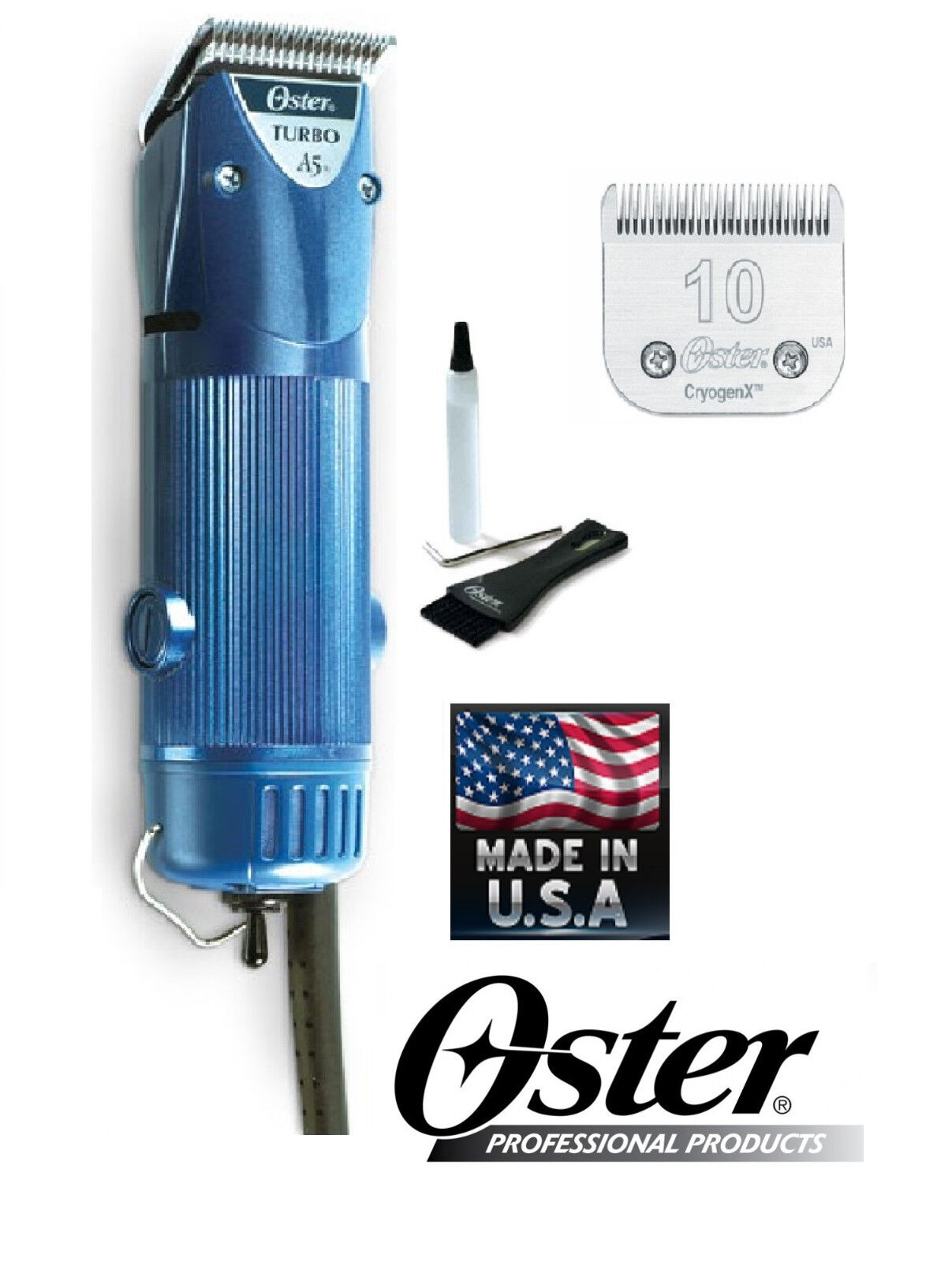 Oster A5 Turbo 2 Speed Clipper & CryogenX 10 Blade Dog Horse GroomingNEW MODEL