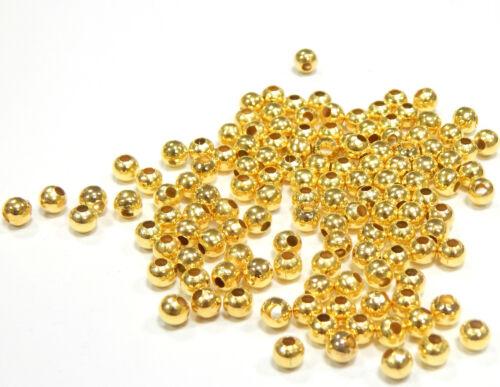 400 Metallperlen Zwischenteile SPACER Rund 3mm GOLD Metall Schmuck BEST M209