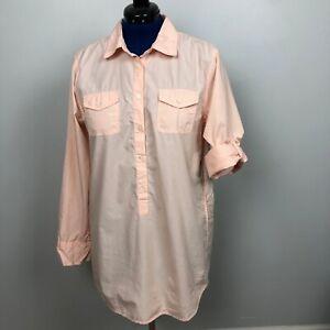 J-Crew-Women-039-s-Size-L-Peach-Tunic-Shirt-Rolled-Long-Sleeve-100-Cotton