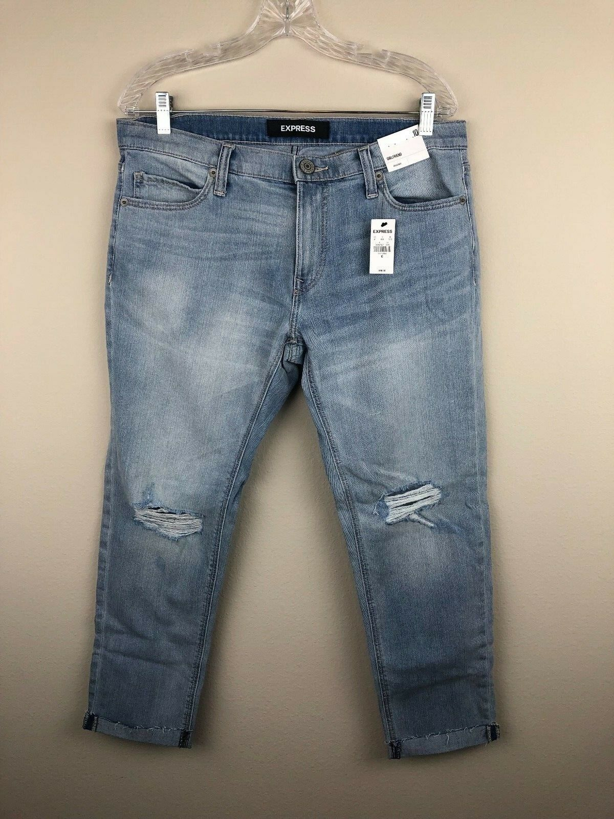 Express Jeans Womens Size 10R Girlfriend Fit Light Wash Cropped Ankle Distressed