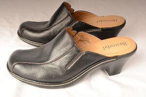 Bjorndal-Womens-Mules-Sz-7-M-Slides-Heels-Slip-Ons-034-Pluto-034-Black-Leather-136135
