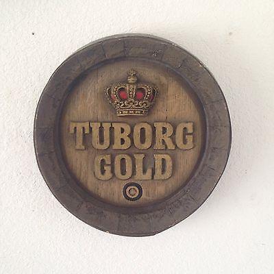 VINTAGE TUBORG GOLD BEER BARREL ADVERTISING SIGN TUBORG BREWERY DENMARK