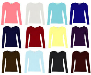KIDS-LONG-SLEEVE-PLAIN-BASIC-TOP-GIRLS-T-SHIRT-TOPS-CREW-SCHOOL-UNIFORM
