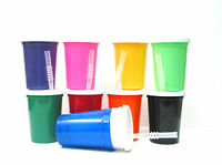 12 Small Plastic Drinking Glasses Lids Straws, 12 Ounce, Mfg Usa, Mix Colors