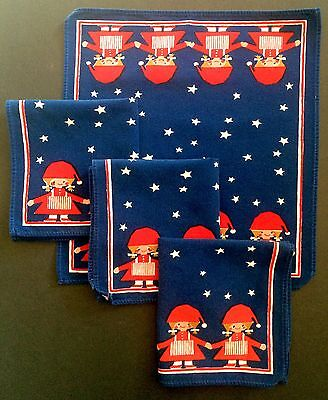Set of 4 VTG Red White Blue Cloth Napkins Little Girl in Dress & Stocking Cap