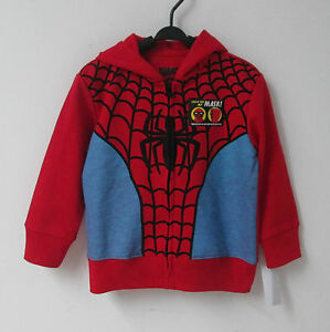 Boys-RED-Spiderman-Long-Sleeve-Hoodie-Jumper-Size-L7yrs-BRAND-NEW