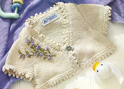 "Sweet Embroidered Picot Edged Baby Cardigan 16"" - 26"" DK Knitting Pattern"