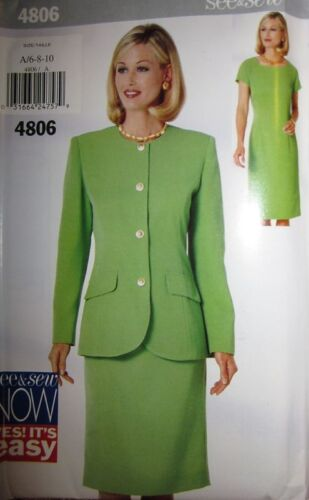 Vintage Butterick SEWING Pattern 4806 EASY Misses Jacket Dress UNCUT 6-22