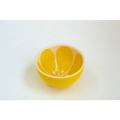 Yellow Ceramic Tea Bowl Lemon Pattern Handmade Pottery