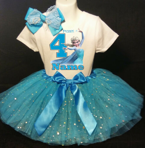 -With NAME- party Tutu outfit Frozen Elsa 4th Birthday dress