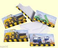 Einladungskarten 8-er Papier Baustelle Kindergeburtstag
