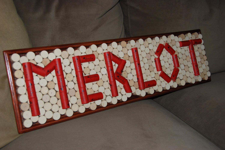 MERLOT Wine Cork Board Wand Decor Bullient Board Memo Repurposed