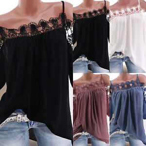 Womens-Cold-Shoulder-T-Shirt-Tops-Short-Sleeve-Summer-Beach-Lace-Shirts-Blouse