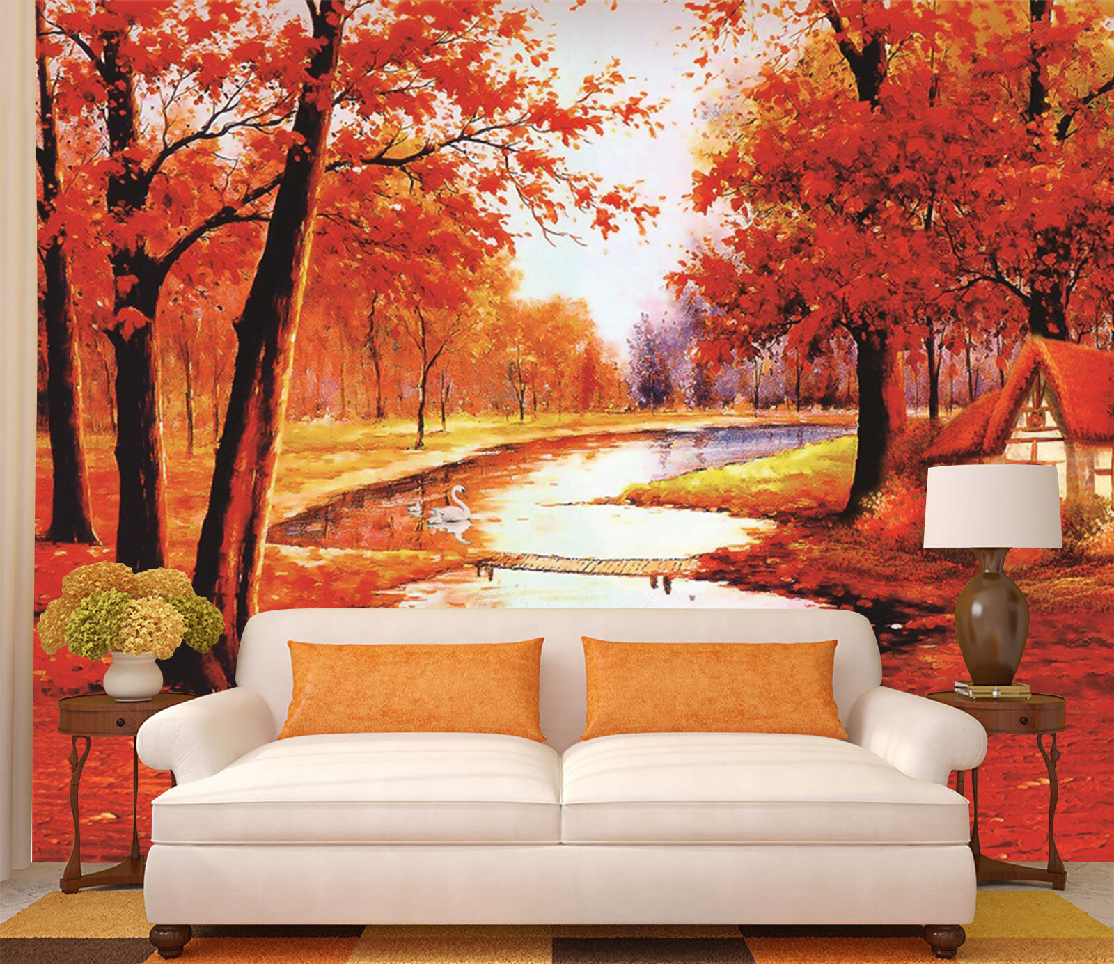 3D Rote Wald, Fluss 067 Fototapeten Wandbild Bild Tapete Familie Kinder