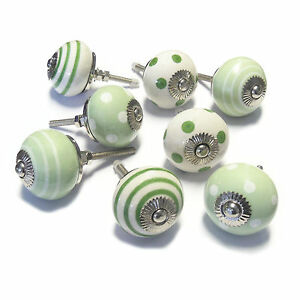 Set of 8 Traditional Green Ceramic Cupboard Door Knobs Cabinet Handles PKS12 - <span itemprop=availableAtOrFrom>New Malden, United Kingdom</span> - Returns accepted - New Malden, United Kingdom