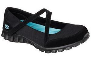 USED Women's SKECHERS 22683 Black EZ FLEX 2 A GAME Slip On Casual Fashion Shoes