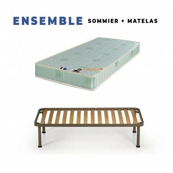 Matelas + Sommier + pieds Offerts Mousse Poli Lattex Indéformable - 19 cm - Très