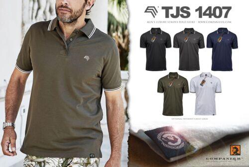 TJS 1407 LUXURY Stripe STRETCH MAGLIA POLO DA UOMO companieer MEN NERO BLACK