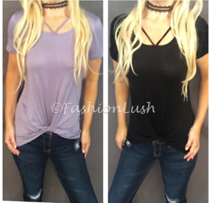 Strappy-Caged-Scoop-Neck-Twist-Knot-Relaxed-Fit-Short-Sleeve-Tee-T-Shirt-Top