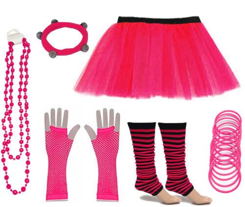NEON ANNI/'80 FANCY DRESS Hen Party Costumes Tutu Gon na gamba più caldi guanti GUM beads