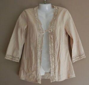 BOUTIQUE-EUROPA-Khaki-3-4-Sleeve-Jacket-Size-4-Linen-Blend-Tunic-Boho-Festival