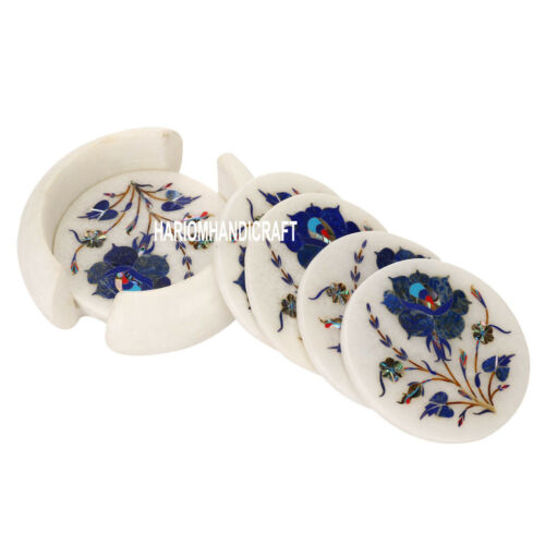 White Marble Coaster Set Lapis Semi Precious Inlay Kitchen Art Gifts Decor H3559