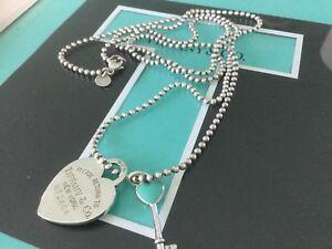 tiffany co key heart xlong 34 heart tag chain necklace dog tag