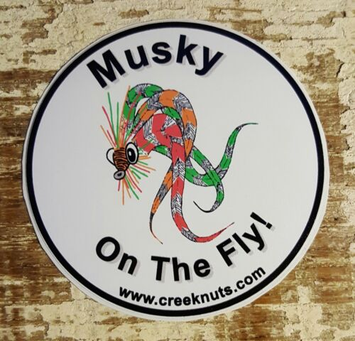 "FLY FISHING BUMPER STICKERS Musky on the Fly muskie 5/"" /& 3/"" circles Decals Flies"