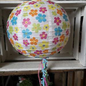 Flowerpower-25cm-Boho-Lampenschirm-Blumen-Lampion-Papier-Muster-Lampe-Rund
