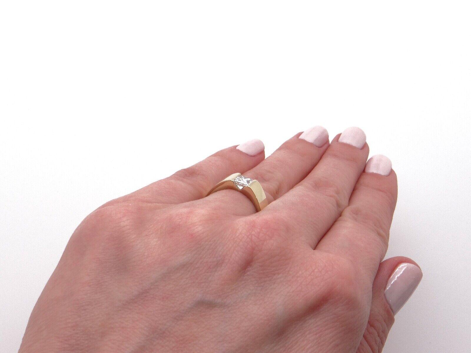 Unisex 14k Yellow Gold .54ct Princess Cut Diamond… - image 8