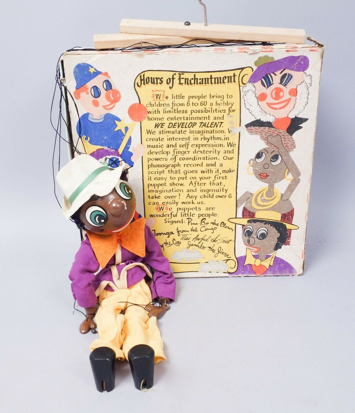 Il famoso nero Americana Talengiocattolo Jambo il Jiver Marionette Puppet w Orig scatola