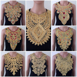 EE-LC-Lace-Embroidered-Venise-Neckline-Neck-Collar-Trim-Clothes-Sewing-Appliqu
